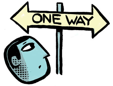 Man looking up at One Way sign with opposing arrows