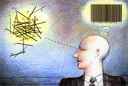 Businessman thinking of bar code and tangled lines