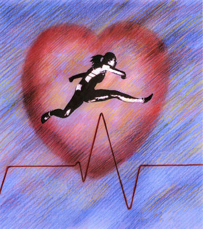 Woman athlete jumping over pulse trace line with heart in background