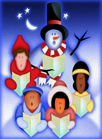 Children singing carols with snowman