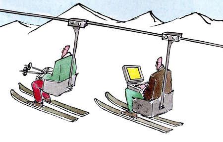 Man riding on ski lift using laptop