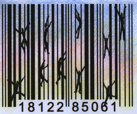 People climbing on lines of a bar code