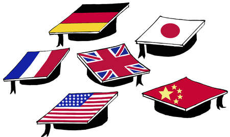 Graduation caps with foreign flag designs on top