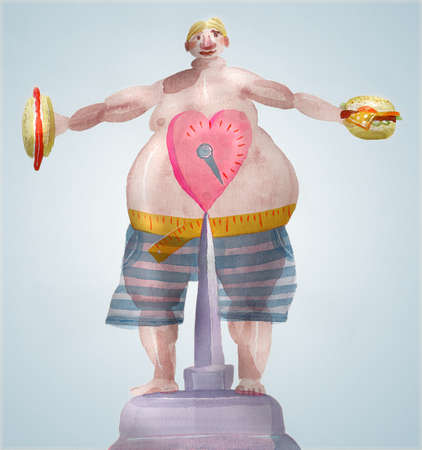 Overweight man holding junk food on scales