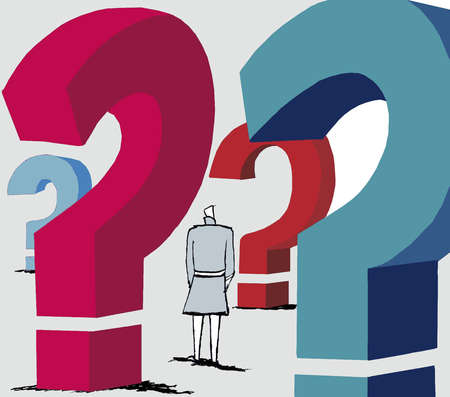 Woman surrounded by large question marks