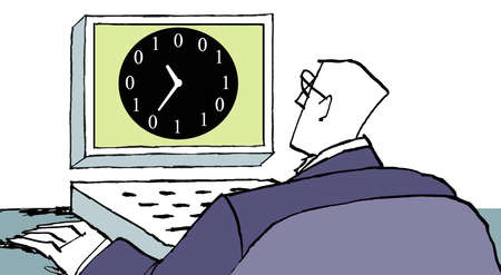 Businessman looking at computer with binary clock