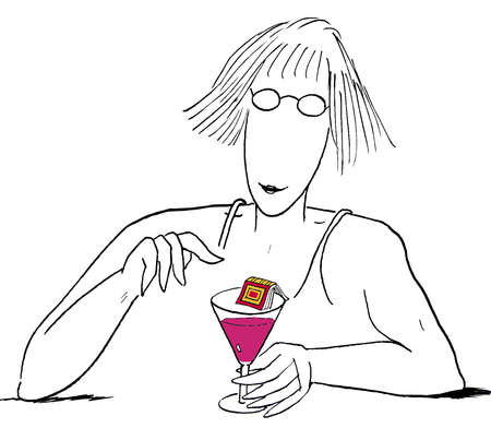 Woman drinking cocktail with book on rim