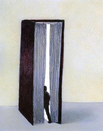 Man entering large book