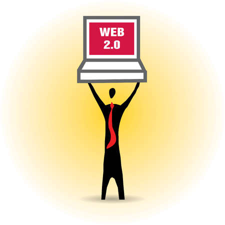 Businessman holding laptop with Web 2.0 text overhead