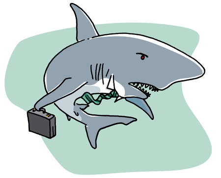 Shark swimming with briefcase