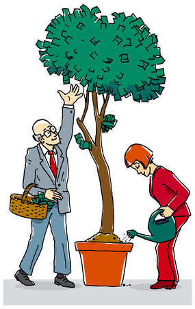 Businessman picking money from money tree