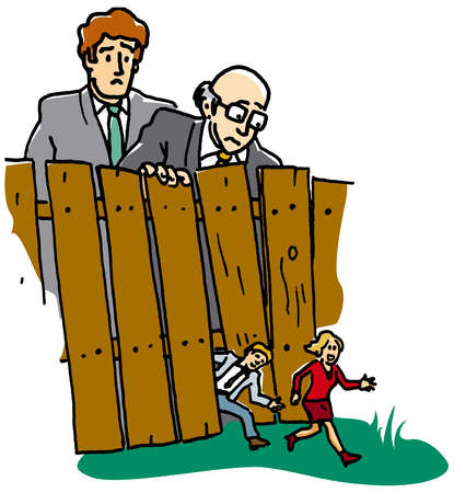 Large businessmen watching small business people escaping from fence