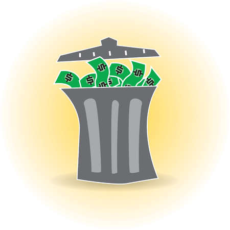 Garbage can full of money