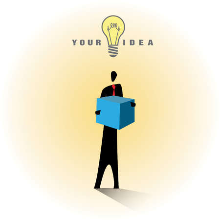 Light bulb and Your Idea text over businessman holding box