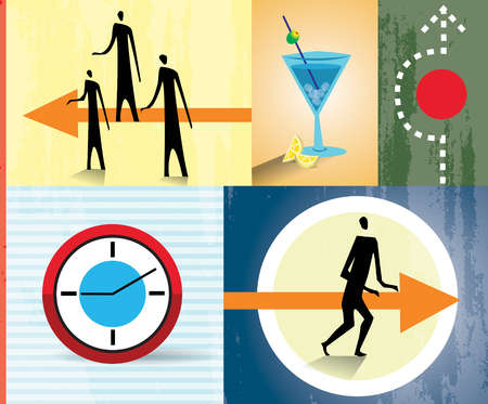 Montage of people, clock, arrows and cocktail