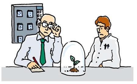 Scientists looking at growing seedling