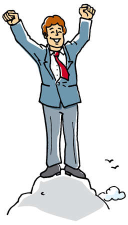 Businessman cheering on top of mountain