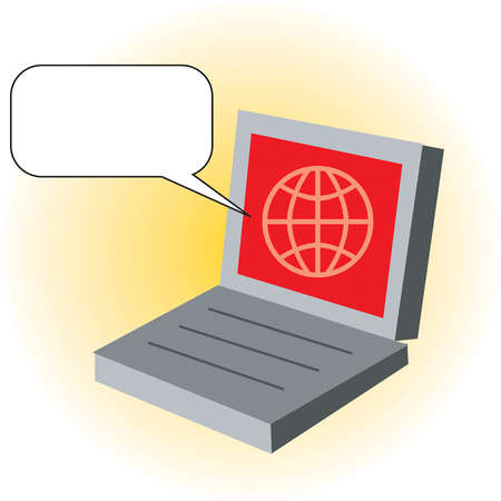 Laptop with globe on monitor and empty speech bubble