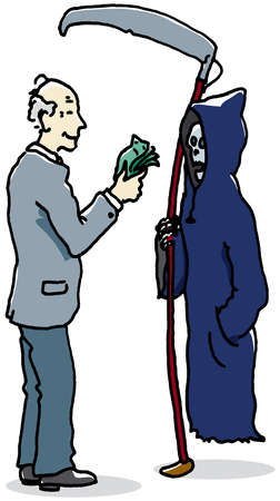 Businessman paying bribe to grim reaper