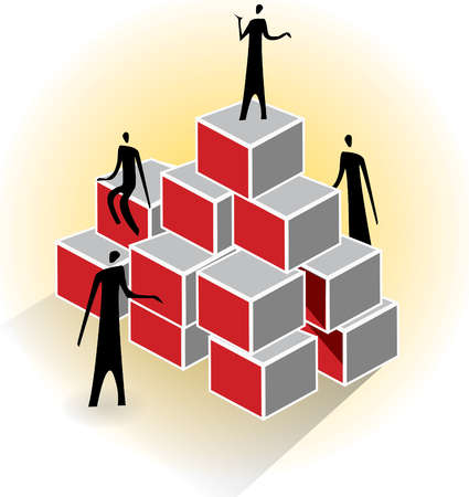Business people standing on pyramid of boxes