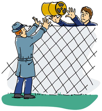Man throwing barrel of pollution over fence
