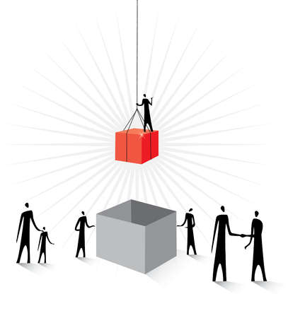 Man on cube being lowered into box