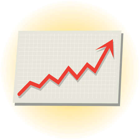 Line graph with arrow pointingup