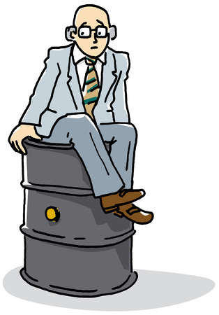 Businessman sitting on barrel