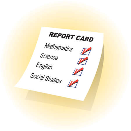Report card with check marks next to subject