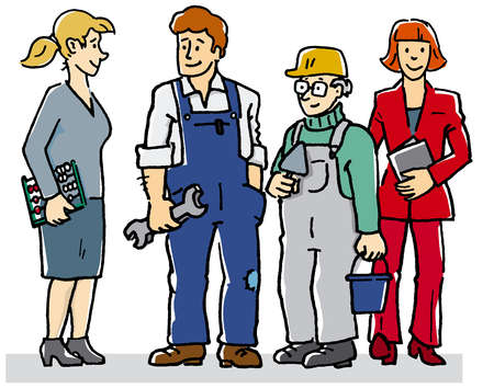 Teacher, mechanic, bricklayer and businesswoman standing together