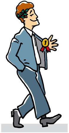 Proud businessman wearing prize ribbon and laurel wreath