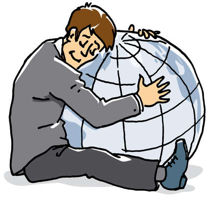 Man hugging globe