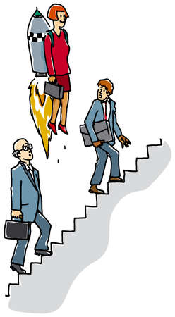 Businesswoman riding rocket past co-workers on stairs