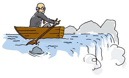 Businessman rowing near waterfall