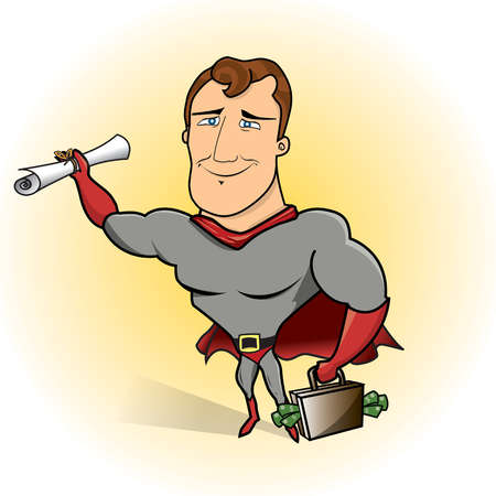 Superhero holding diploma and briefcase with cash