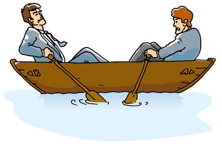 Businessmen rowing boat in opposite directions