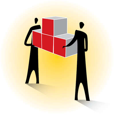 Business people connecting boxes