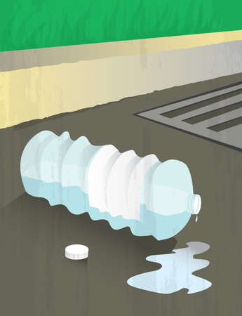 Plastic water bottle dripping in street gutter