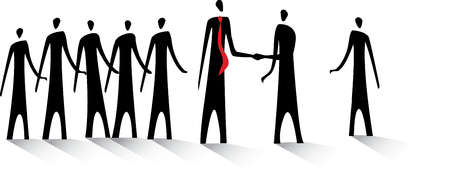 Business people greeting each other and shaking hands