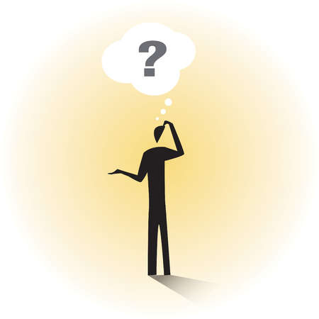 Thought bubble with question mark over man scratching head
