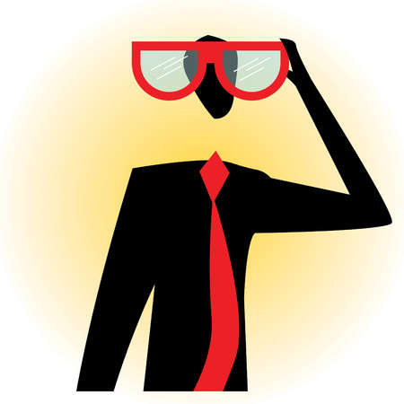 Businessman looking through large eyeglasses