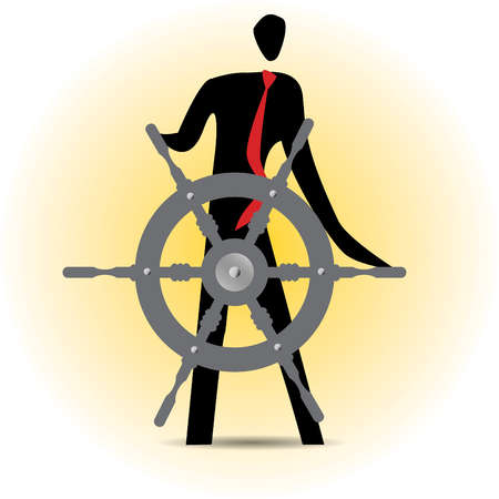 Businessman steering ship's wheel