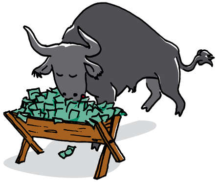 Bull eating money from trough