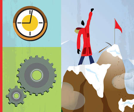 Montage of man on mountain top, clock and cog