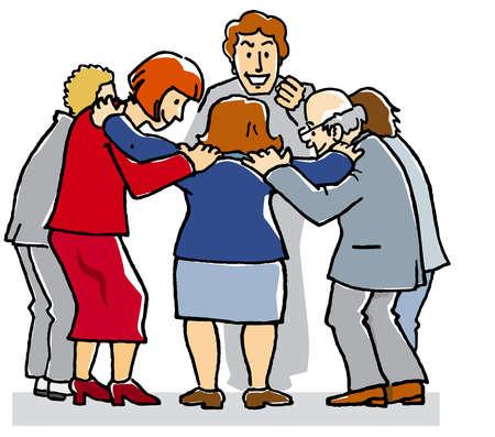 Business people huddling together