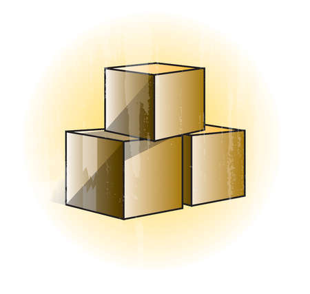 Three cubes stacked in pyramid