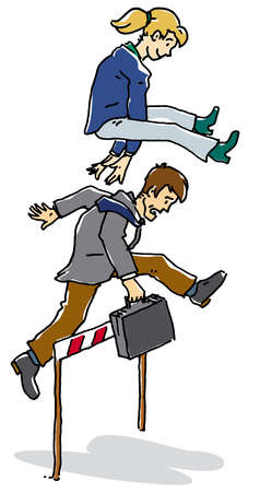 Businesswoman leapfrogging over co-worker jumping hurdle