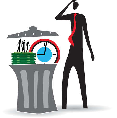 Businessman scratching head and looking at garbage can containing money, clock and employees