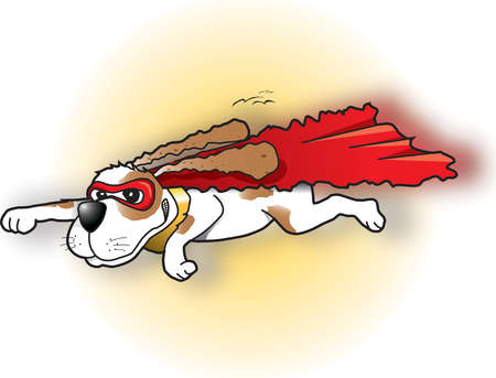 Flying dog wearing cape