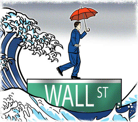 Wave following businessman walking over Wall Street sign